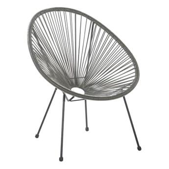 Beliani Krzesło Rattanowe Szare Acapulco Ii