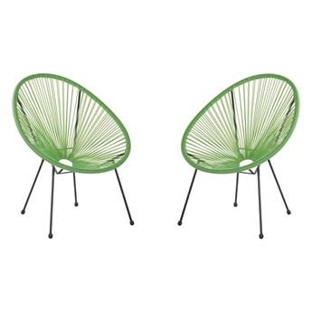Beliani Zestaw 2 Krzeseł Rattanowy Zielony Acapulco Ii