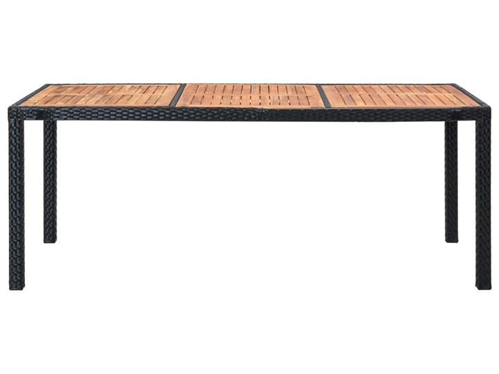 vidaXL 9-cz. zestaw mebli ogrodowych z poduszkami, rattan PE, czarny Stoły z krzesłami Tworzywo sztuczne Stal Styl Rustykalny