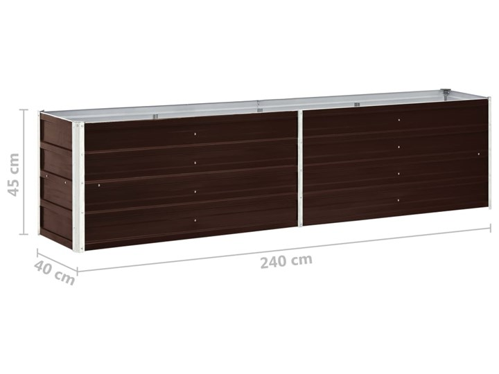 vidaXL Podwyższona donica z galwanizowanej stali 240x40x45 cm, brązowa Metal Donica ogrodowa Donica balkonowa Kolor Brązowy
