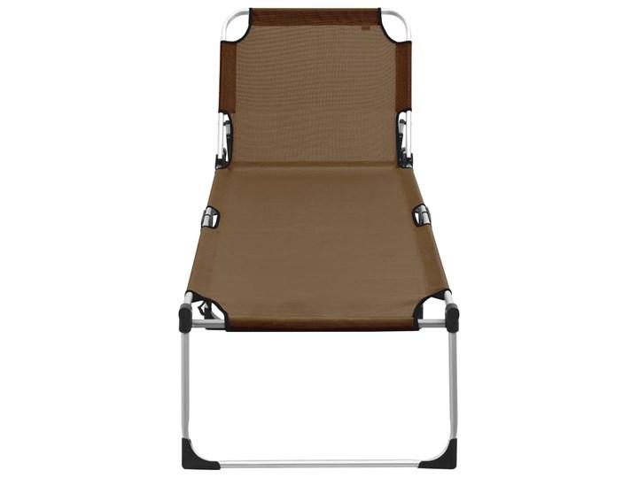 vidaXL Wysoki leżak dla seniora, składany, brązowy, aluminiowy Składane Z regulowanym oparciem Aluminium Kategoria Leżaki ogrodowe