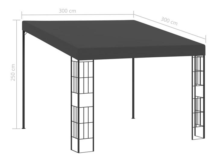 vidaXL Altana przyścienna, 3x3 m, antracytowa, tkanina Kolor Czarny Wysokość 250 cm Kategoria Altany ogrodowe