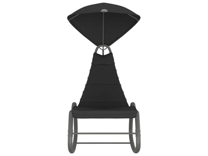 vidaXL Huśtawka ogrodowa, czarna, 160x80x195 cm, tkanina Kolor Czarny