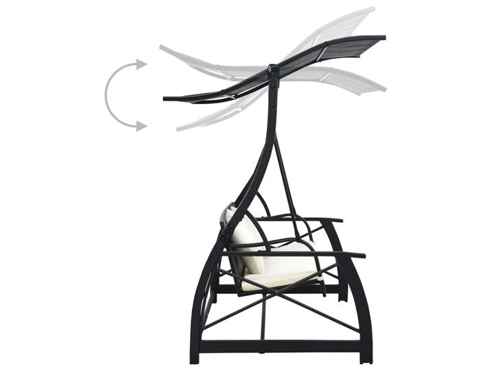 vidaXL 3-osobowa huśtawka ogrodowa z zadaszeniem, rattan PE, czarny Materiał stelaża Metal