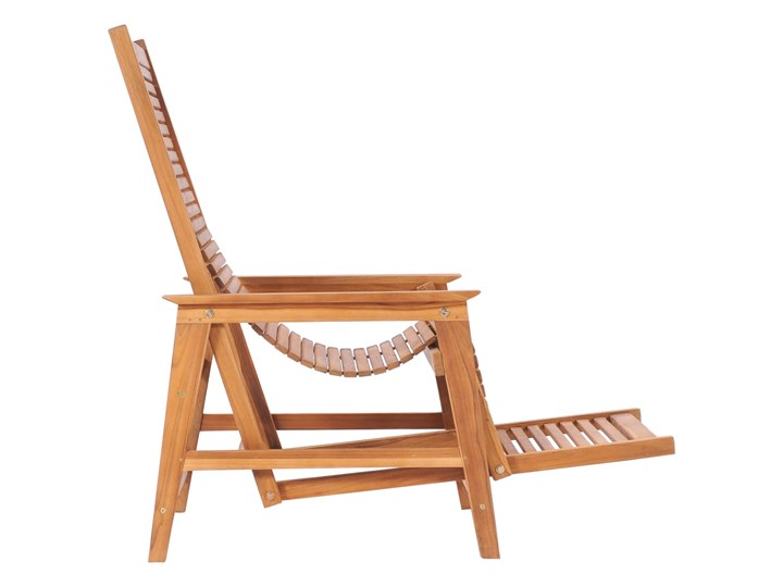 vidaXL Ogrodowe krzesło wypoczynkowe z podnóżkiem, lite drewno tekowe Kategoria Leżaki ogrodowe