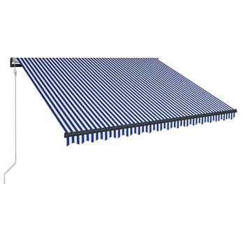 vidaXL Markiza z LED i czujnikiem wiatru, 350x250 cm, niebiesko-biała