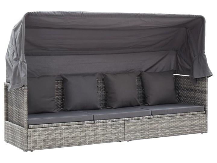 vidaXL Leżanka ogrodowa z daszkiem, szara, 200x60x124 cm, rattan PE Stal Kolor Czarny Kategoria Sofy ogrodowe