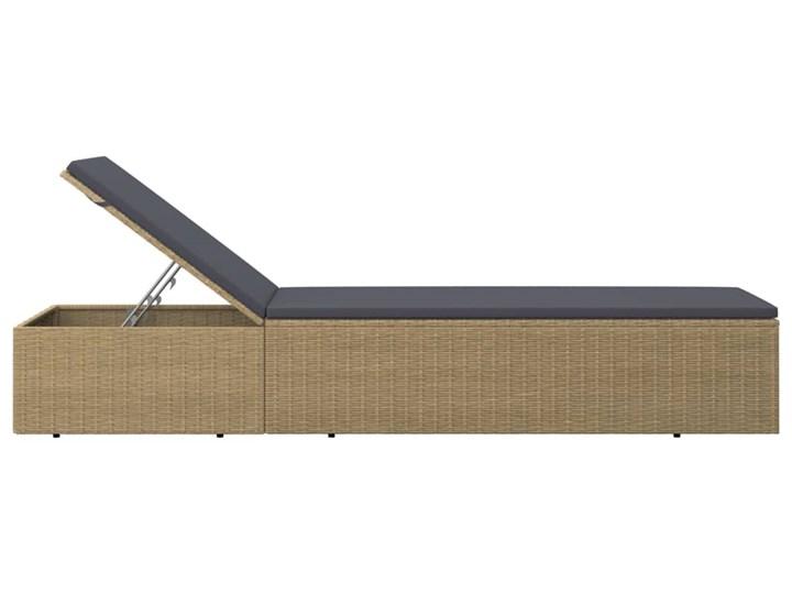 vidaXL Leżak z polirattanu, brązowo-ciemnoszary Metal Kategoria Leżaki ogrodowe Kolor Brązowy