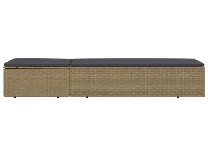 vidaXL Leżak z polirattanu, brązowo-ciemnoszary Metal Kolor Brązowy Kategoria Leżaki ogrodowe