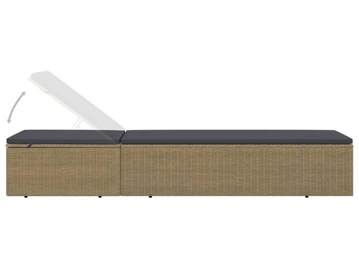 vidaXL Leżak z polirattanu, brązowo-ciemnoszary Metal Kategoria Leżaki ogrodowe