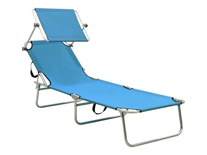 vidaXL Składany leżak z zadaszeniem, stal, turkusowy i niebieski Metal Z daszkiem Składane Z regulowanym oparciem Kategoria Leżaki ogrodowe