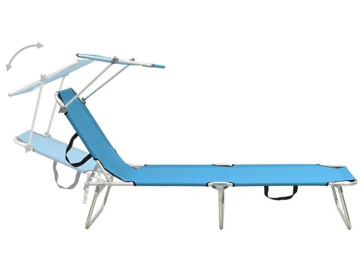 vidaXL Składany leżak z zadaszeniem, stal, turkusowy i niebieski Składane Z regulowanym oparciem Metal Z daszkiem Kategoria Leżaki ogrodowe