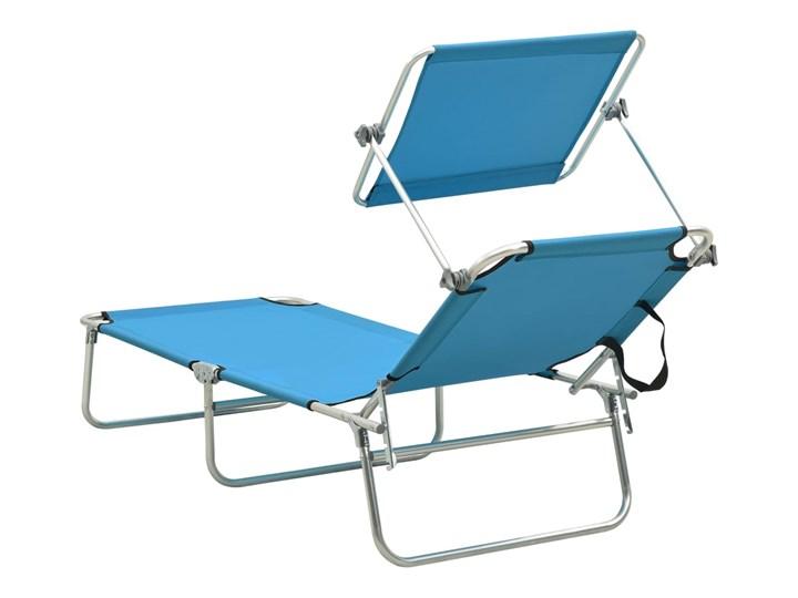 vidaXL Składany leżak z zadaszeniem, stal, turkusowy i niebieski Składane Metal Z regulowanym oparciem Z daszkiem Kategoria Leżaki ogrodowe