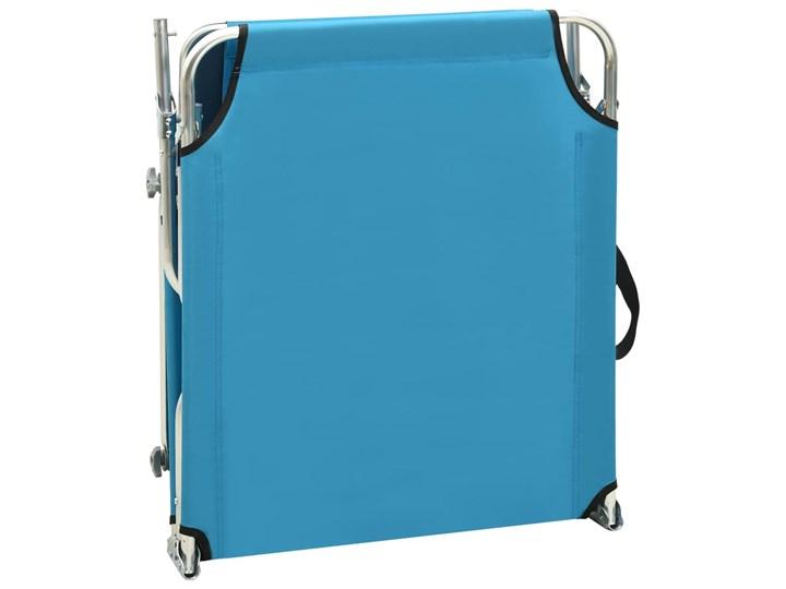 vidaXL Składany leżak z zadaszeniem, stal, turkusowy i niebieski Z regulowanym oparciem Z daszkiem Metal Składane Kategoria Leżaki ogrodowe