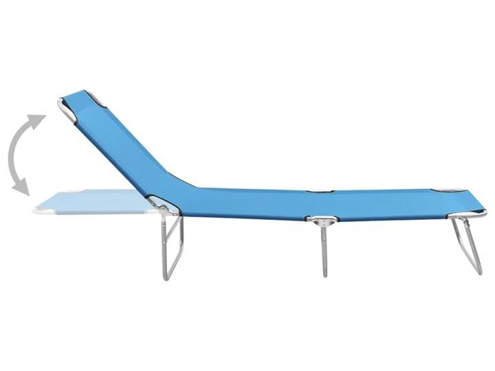 vidaXL Składany leżak, stal i tkanina, turkusowoniebieski Z regulowanym oparciem Składane Leżanki Metal Kategoria Leżaki ogrodowe