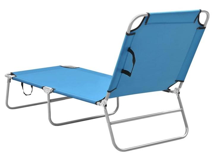 vidaXL Składany leżak, stal i tkanina, turkusowoniebieski Leżanki Z regulowanym oparciem Składane Metal Kategoria Leżaki ogrodowe
