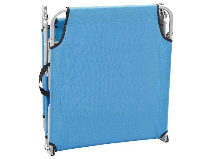 vidaXL Składany leżak, stal i tkanina, turkusowoniebieski Metal Z regulowanym oparciem Leżanki Składane Kategoria Leżaki ogrodowe