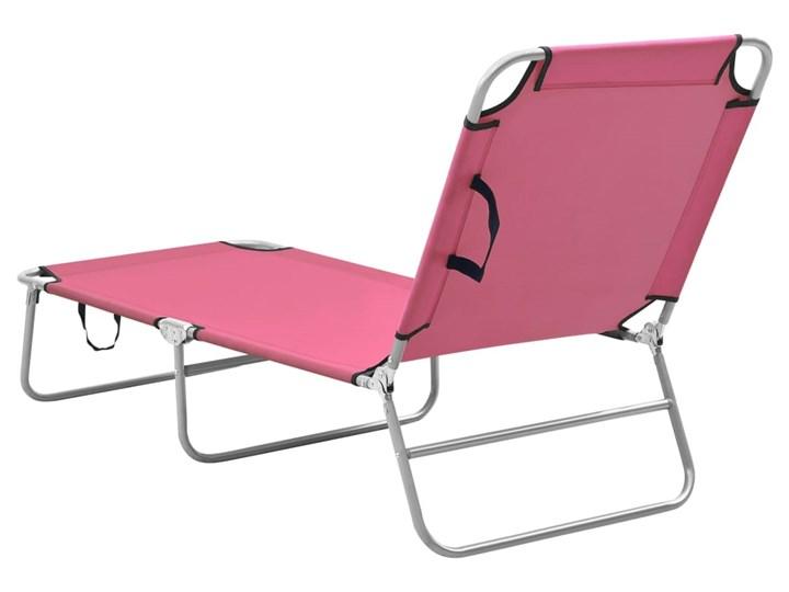 vidaXL Składany leżak, stal i tkanina, różowy Metal Z regulowanym oparciem Leżanki Składane Kategoria Leżaki ogrodowe