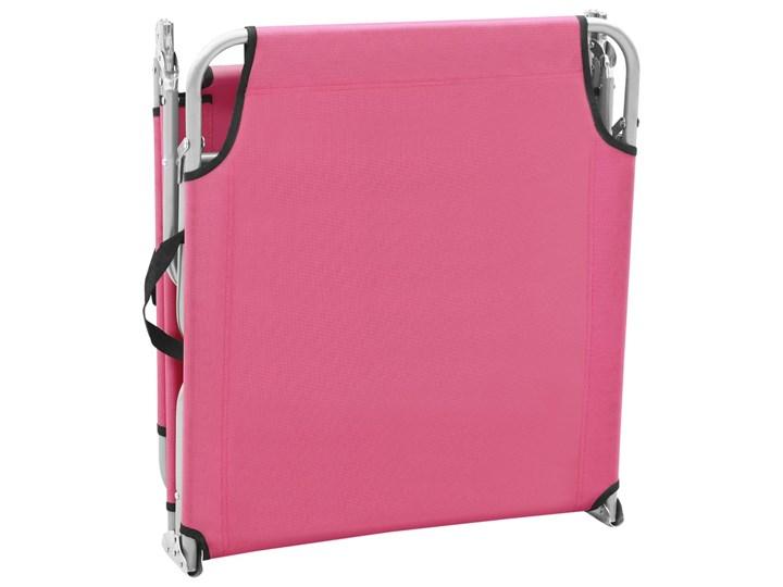 vidaXL Składany leżak, stal i tkanina, różowy Leżanki Metal Z regulowanym oparciem Składane Kategoria Leżaki ogrodowe