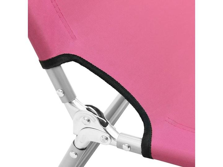 vidaXL Składany leżak, stal i tkanina, różowy Metal Składane Z regulowanym oparciem Leżanki Kategoria Leżaki ogrodowe