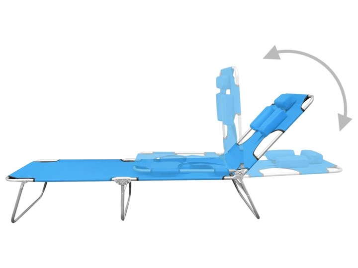 vidaXL Składany leżak z podgłówkiem, stal, turkusowy Kategoria Leżaki ogrodowe Składane Metal Z regulowanym oparciem Kolor