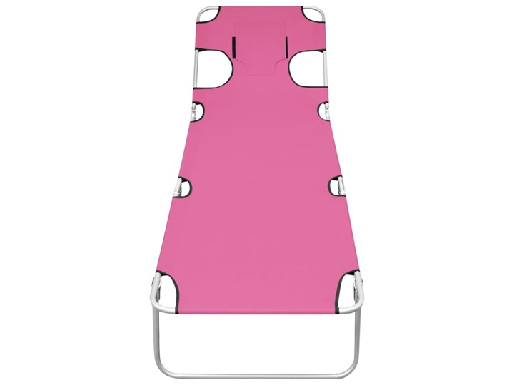 vidaXL Składany leżak z podgłówkiem, stal, różowy Metal Składane Z regulowanym oparciem Kategoria Leżaki ogrodowe