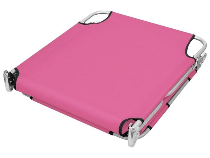 vidaXL Składany leżak z podgłówkiem, stal, różowy Z regulowanym oparciem Składane Metal Kategoria Leżaki ogrodowe