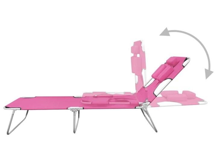 vidaXL Składany leżak z podgłówkiem, stal, różowy Z regulowanym oparciem Metal Składane Kategoria Leżaki ogrodowe