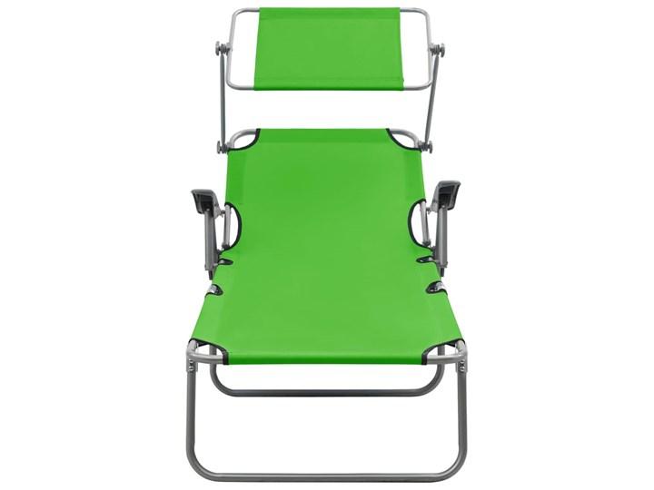 vidaXL Leżak z daszkiem, stalowy, zielony Składane Z regulowanym oparciem Metal Kategoria Leżaki ogrodowe