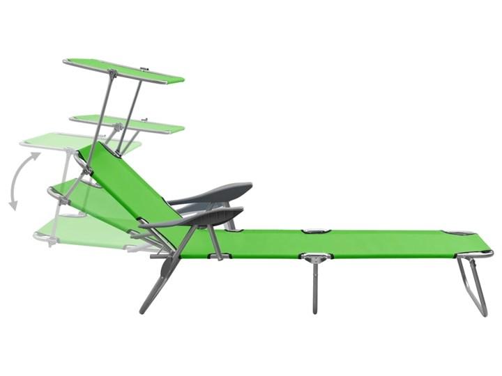 vidaXL Leżak z daszkiem, stalowy, zielony Składane Metal Z regulowanym oparciem Kategoria Leżaki ogrodowe