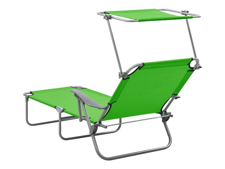 vidaXL Leżak z daszkiem, stalowy, zielony Metal Składane Z regulowanym oparciem Kategoria Leżaki ogrodowe