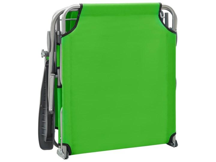 vidaXL Leżak z daszkiem, stalowy, zielony Z regulowanym oparciem Składane Metal Kategoria Leżaki ogrodowe