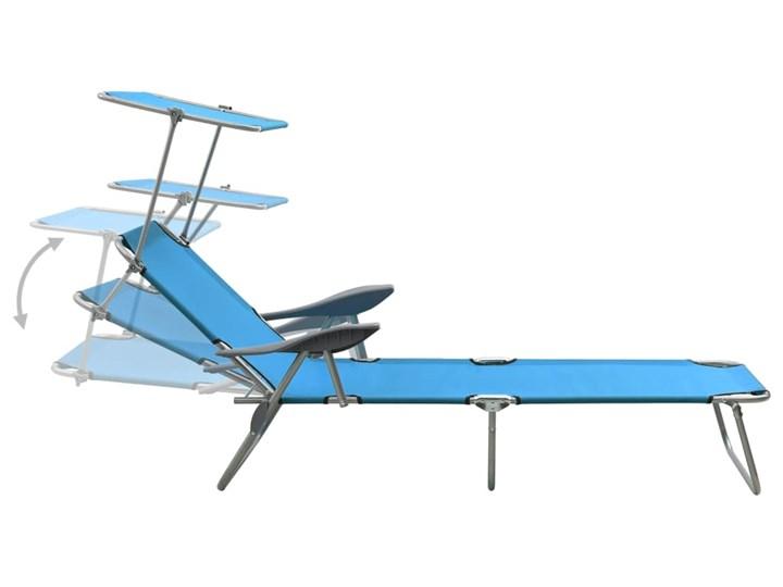 vidaXL Leżak z daszkiem, stalowy, niebieski Składane Metal Z regulowanym oparciem Kategoria Leżaki ogrodowe