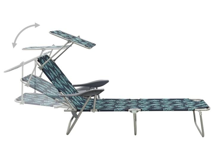 vidaXL Leżak z zadaszeniem, stal, nadruk w liście Z daszkiem Metal Składane Z regulowanym oparciem Kolor Czarny Kategoria Leżaki ogrodowe