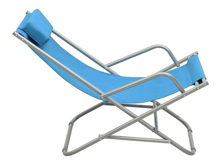 vidaXL Bujane krzesła, 2 szt., stal, niebieskie Składane Metal Kategoria Leżaki ogrodowe