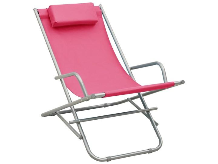 vidaXL Bujane krzesła, 2 szt., stal, różowe Metal Składane Kolor Różowy