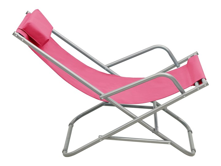 vidaXL Bujane krzesła, 2 szt., stal, różowe Kolor Różowy Składane Metal Kategoria Leżaki ogrodowe