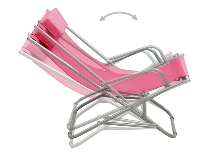 vidaXL Bujane krzesła, 2 szt., stal, różowe Składane Metal Kolor Różowy