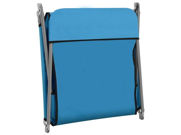 vidaXL Składane leżaki, 2 szt., stal i tkanina, niebieskie Metal Z regulowanym oparciem Kategoria Leżaki ogrodowe