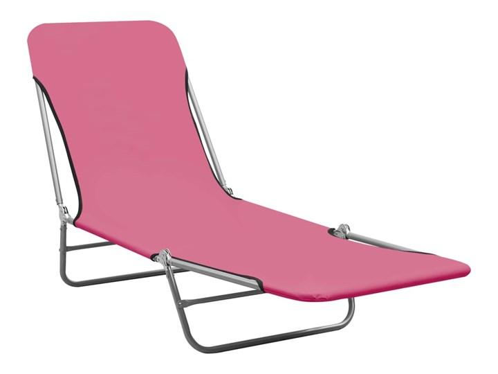 vidaXL Składane leżaki, 2 szt., stal i tkanina, różowe Z regulowanym oparciem Metal Kolor Różowy