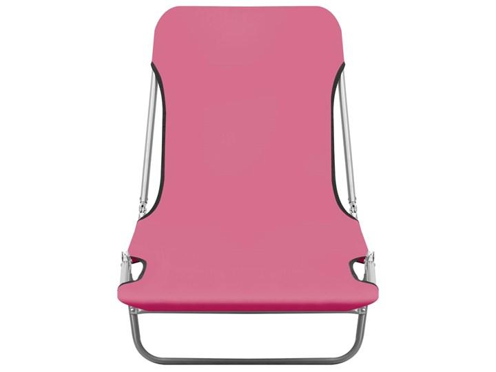 vidaXL Składane leżaki, 2 szt., stal i tkanina, różowe Z regulowanym oparciem Kolor Różowy Metal Kategoria Leżaki ogrodowe