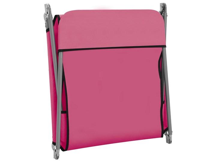 vidaXL Składane leżaki, 2 szt., stal i tkanina, różowe Z regulowanym oparciem Metal Kolor Różowy Kategoria Leżaki ogrodowe