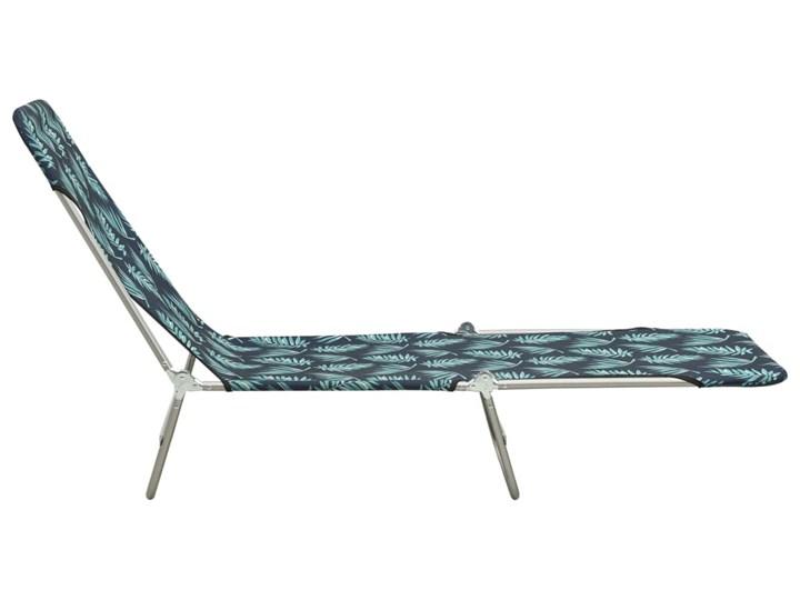vidaXL Składane leżaki, 2 szt., stal i tkanina, ze wzorem liści Z regulowanym oparciem Metal Kolor Czarny