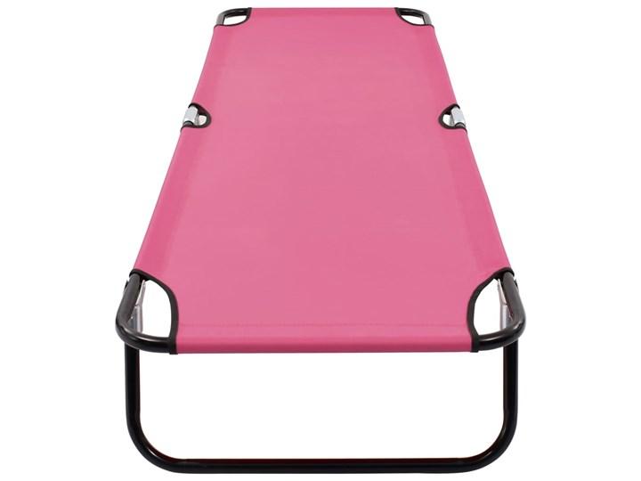 vidaXL Składany leżak, stal, różowy Składane Metal Kategoria Leżaki ogrodowe