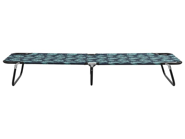 vidaXL Składany leżak, stal, nadruk w liście Składane Metal Kategoria Leżaki ogrodowe Kolor Czarny