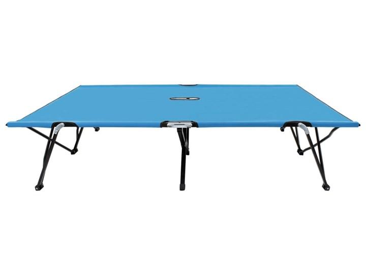 vidaXL Dwuosobowy leżak, składany, niebieski, stal Składane Metal Kategoria Leżaki ogrodowe
