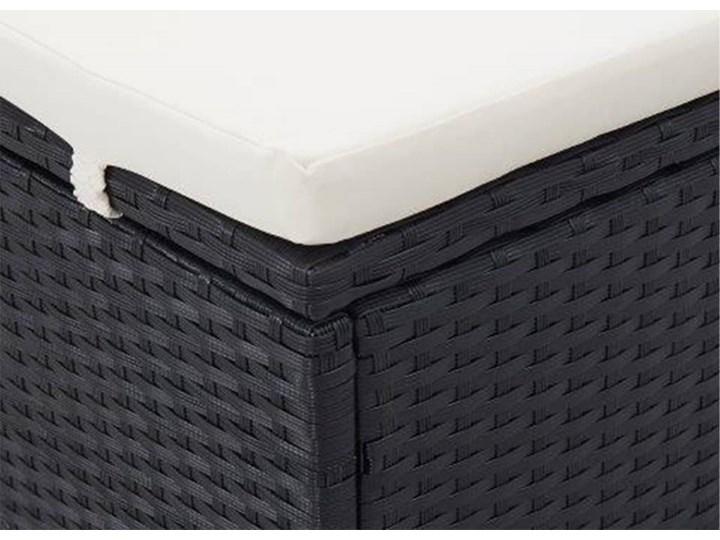 vidaXL 2-osobowy leżak z poduszką, polirattan, czarny Składane Z daszkiem Metal Kategoria Leżaki ogrodowe