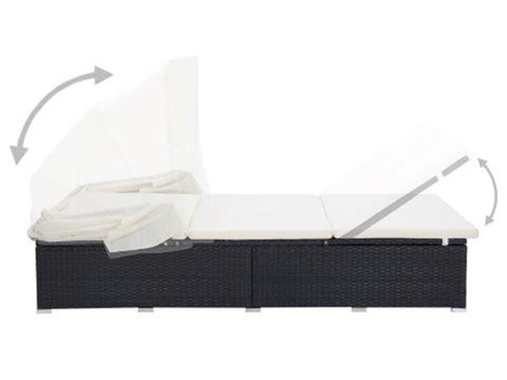 vidaXL 2-osobowy leżak z poduszką, polirattan, czarny Z daszkiem Metal Składane Kategoria Leżaki ogrodowe