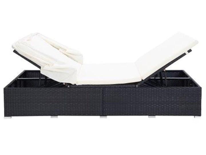 vidaXL 2-osobowy leżak z poduszką, polirattan, czarny Z daszkiem Składane Metal Kategoria Leżaki ogrodowe