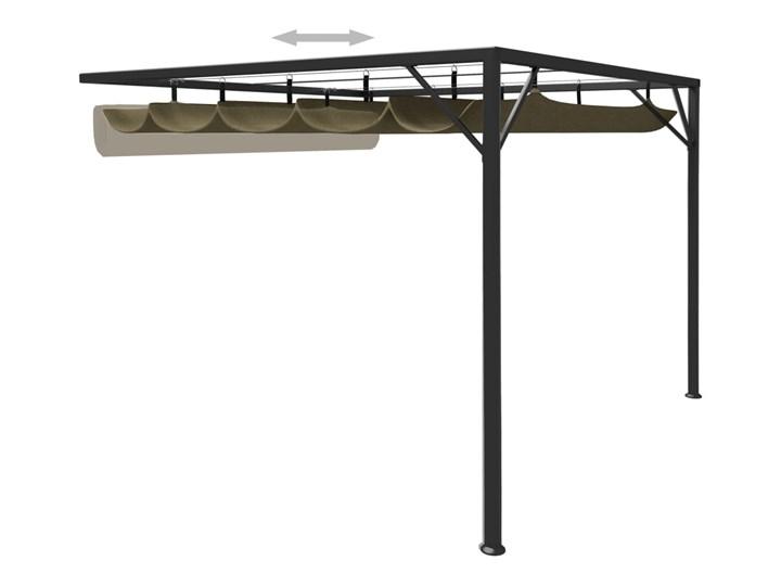 vidaXL Altana przyścienna ze zwijanym dachem, 3x3 m, taupe, 180 g/m² Wysokość 230 cm Kategoria Altany ogrodowe Kolor Czarny